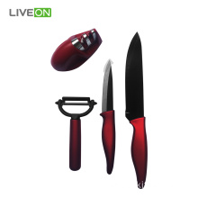 4pcs Sharpener Kitchen Black Ceramic Knife Set
